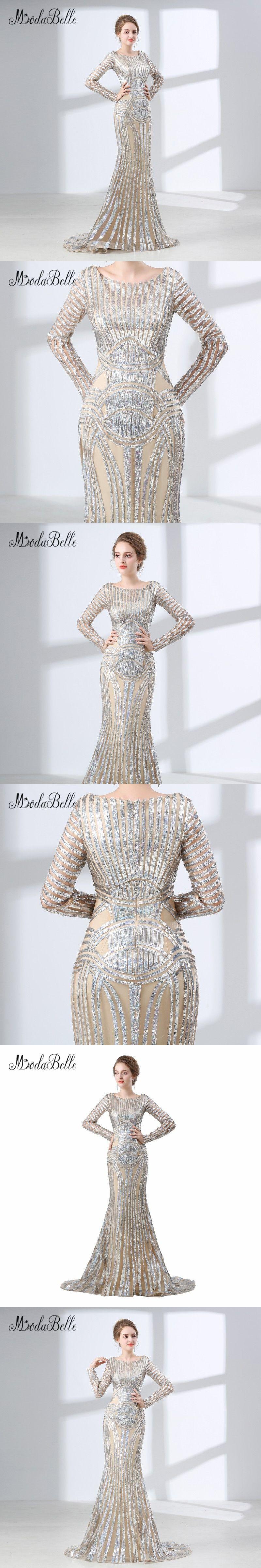 modabelle Elegant Bridal Evening Dress Long Sleeves Sequin Celebrity  Dresses Designer 2018 Bling Bling Women Evening ae6a50f1c698