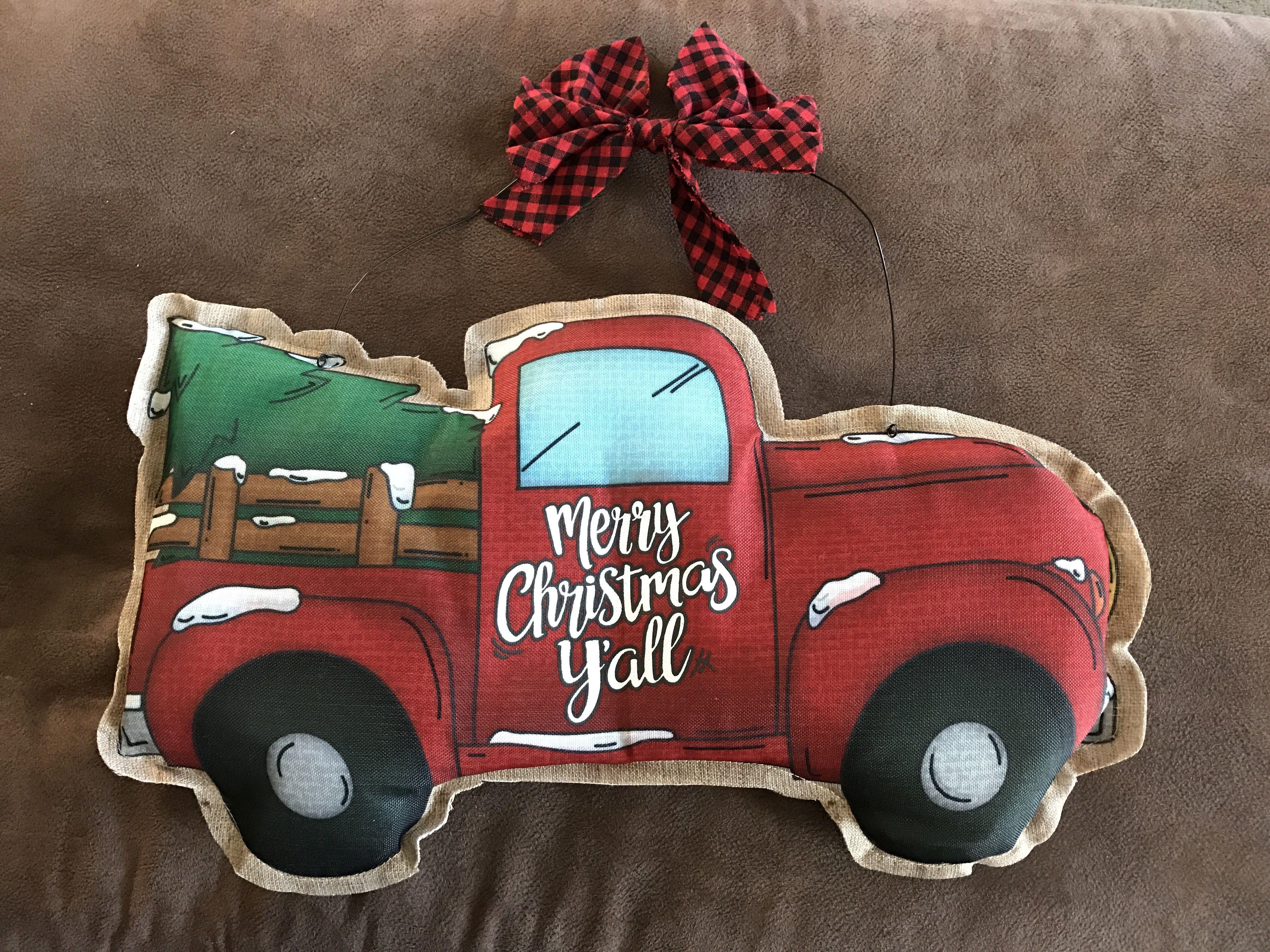 Christmas pickup truck front door decor Christmas door