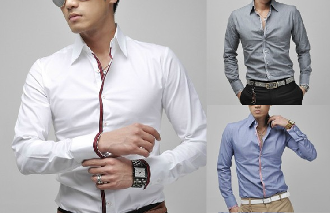 Men Shirt with Ribbon Front Details