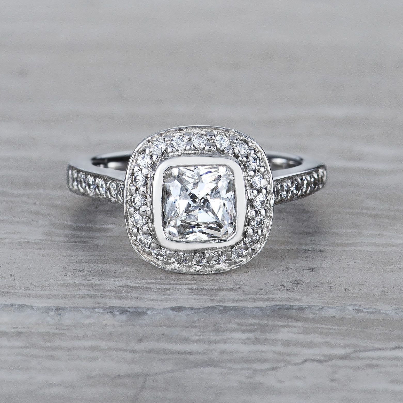 Ct princess cut diamond halo engagement ring solitaire