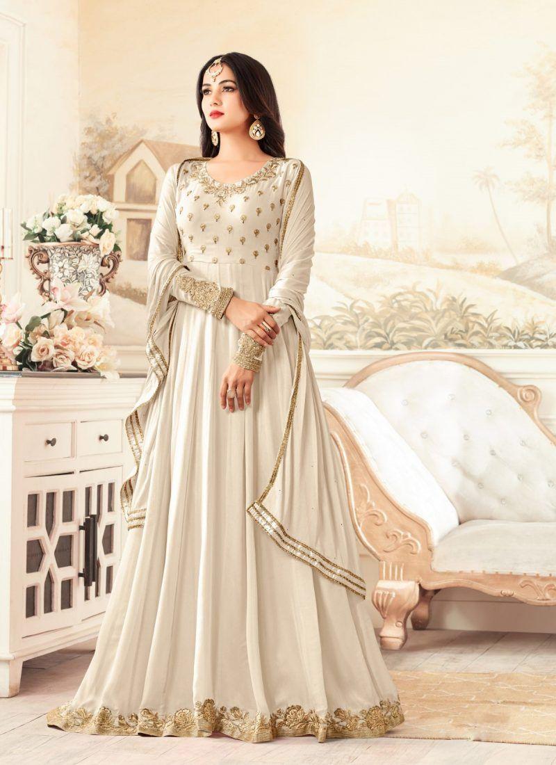 900facf3ca2 Elegant Designer Off-White Floor Touch Suit