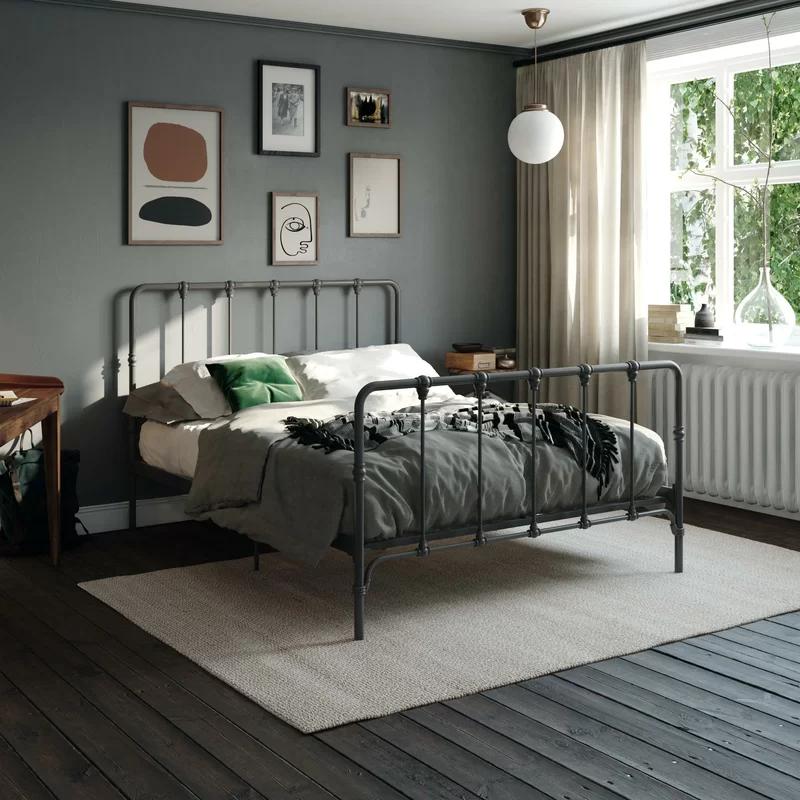 Viviana Farmhouse Metal Platform Bed Reviews Joss Main In 2020 Metal Platform Bed Metal Beds Black Metal Bed Frame