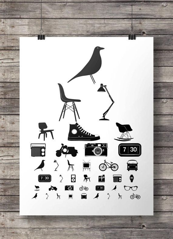 DESIGN ICONS mid century eye test chart black and white Eye Chart