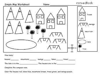 This is a great early map skills worksheet. Students must
