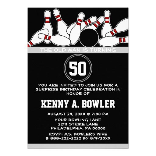 Bowling Ball Pins Surprise Funny Birthday Party Custom - bowling invitation