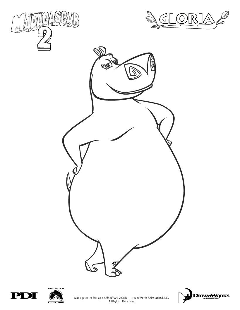 Madagascar 2 Gloria Coloring Page Coloring Famous Character