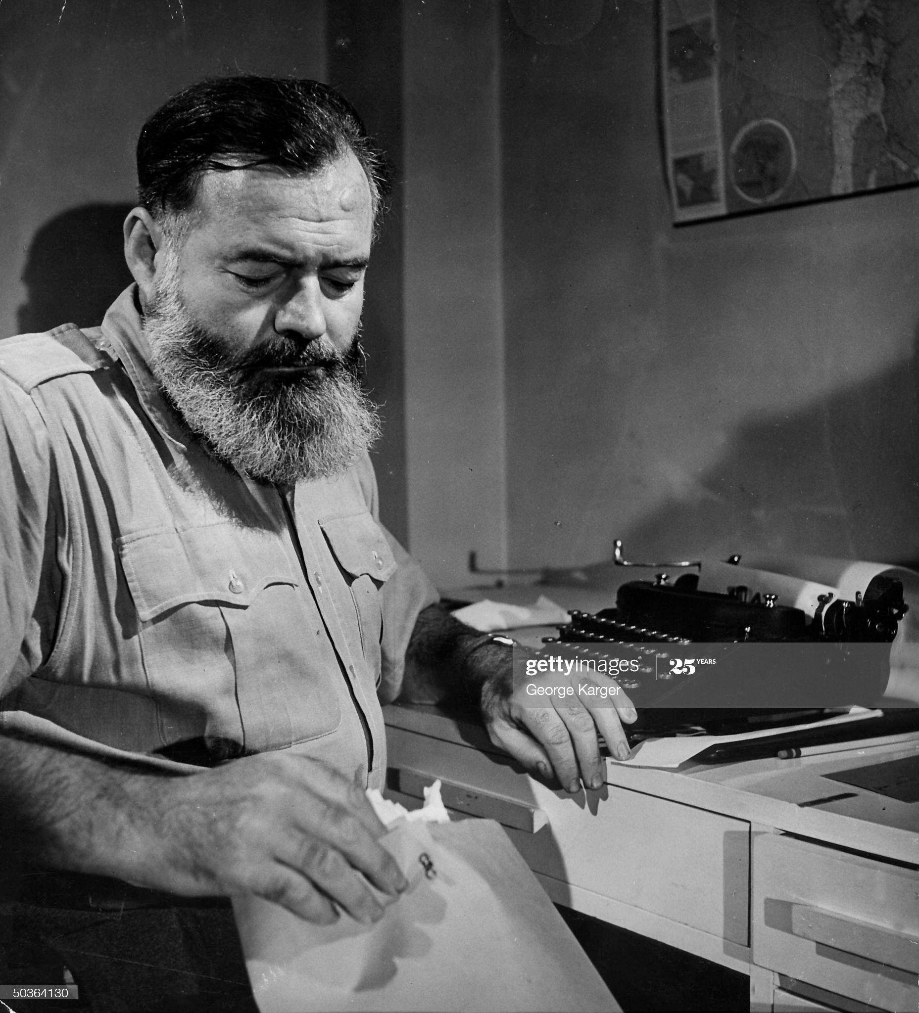 Photo Author Ernest Hemingway at Typewriter