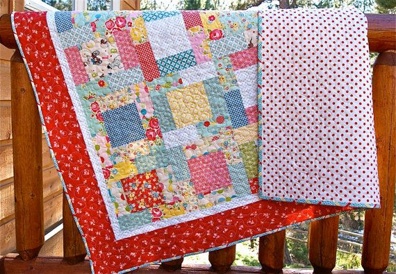 Quilt Baby Toddler Lap Throw Sidewalks Fabric by PiecesOfPine