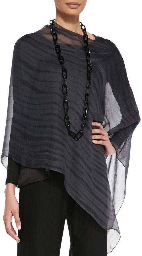 5d4a144ecc5 Eileen Fisher Sheer Shibori Silk Poncho, Charcoal on shopstyle.com ...