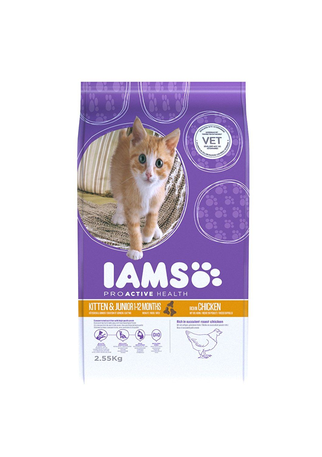 Iams Kitten And Junior Savoury Roast Chicken 2 55kg 2550g See This Great Product This Is An Affiliate Link Catfood Cat Food Kitten Iams