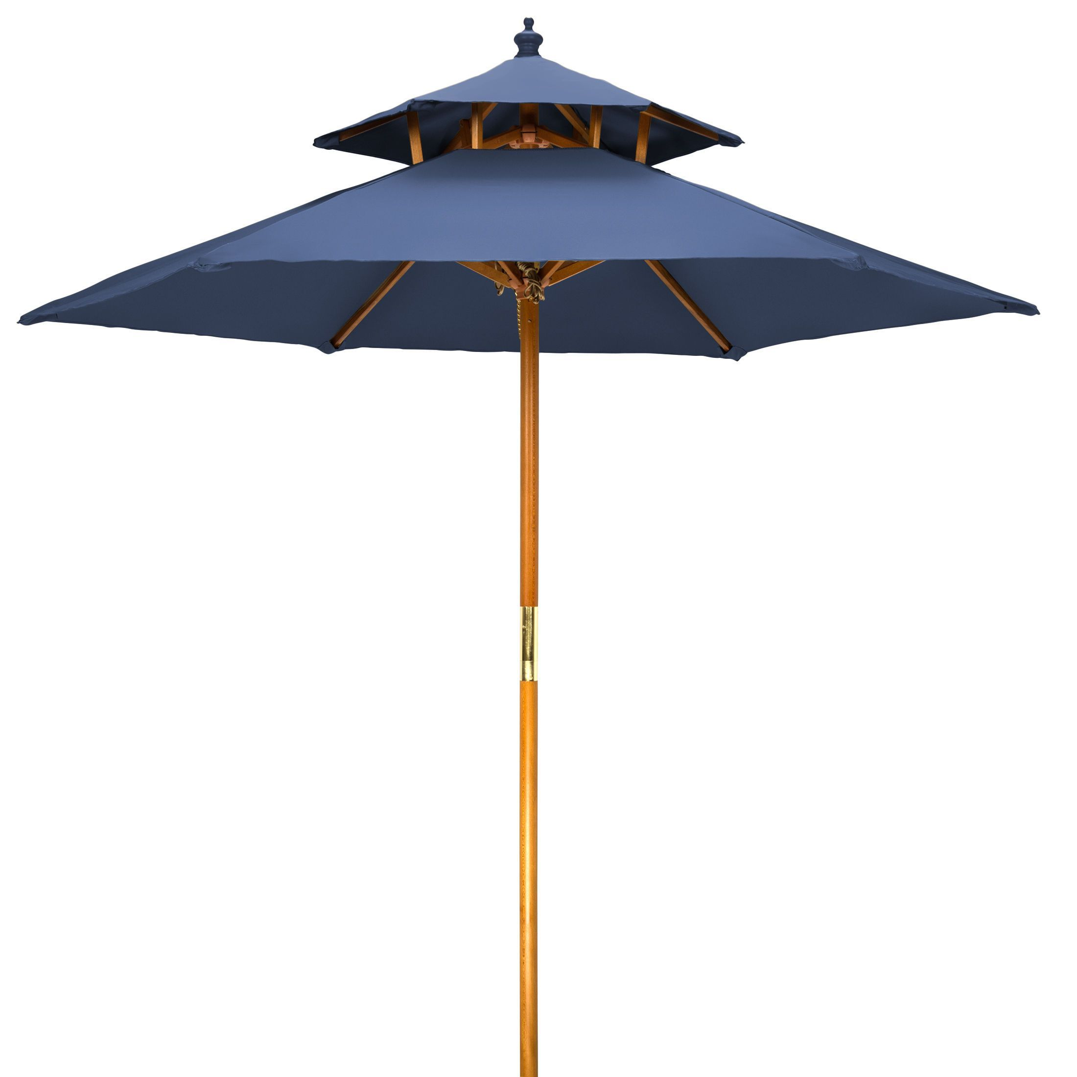 Merveilleux 7u0027 Wood 2 Tier Pagoda Style Patio Umbrella By Trademark Innovations (Blue),