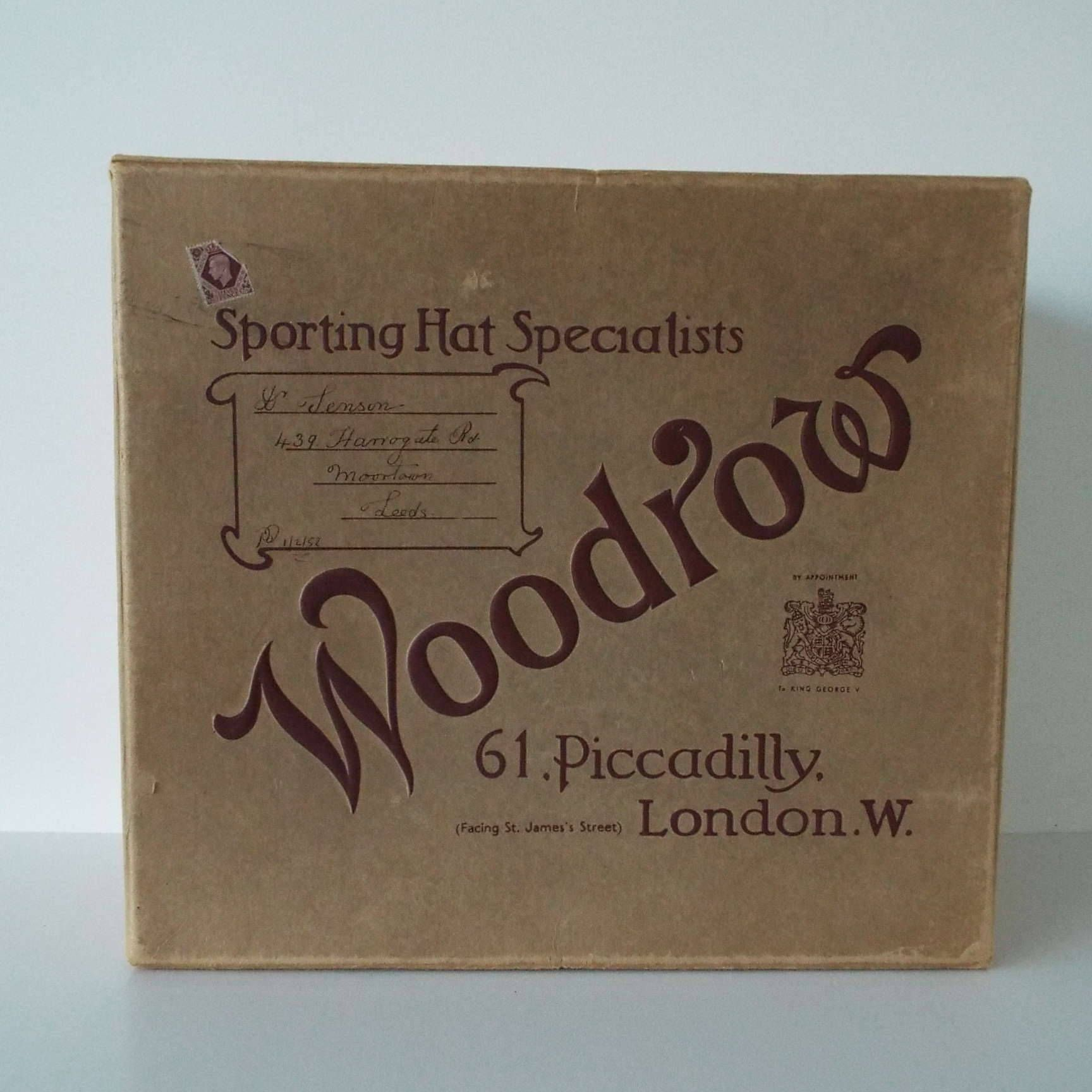 a736d37f6 Vintage 1950 s Woodrow Sporting Hat Specialists Piccadilly London Hat Box  Shop Window Display Film Prop King