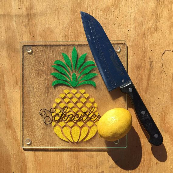 Personalized Pineapple Glass Kitchen Cutting Board Customized With