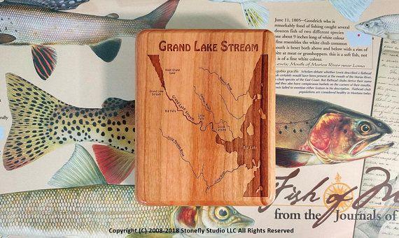 Grand Lake Stream Maine Map.Grand Lake Stream River Map Fly Box Handcrafted Custom Designed
