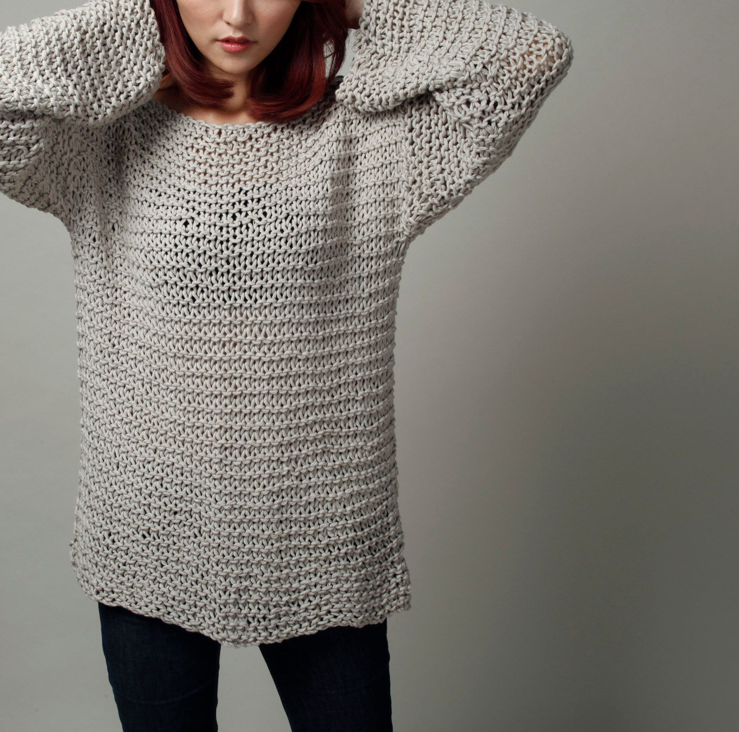 Simple is the best - Hand knit sweater Eco cotton oversized light ...