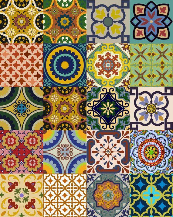 Splashback 24 tile stickers mexican tile stickers mixed for Azulejos estilo mexicano