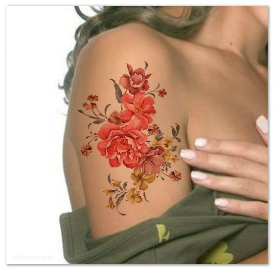 Temporary Tattoo Waterproof Flower Ultra Thin Realistic ...