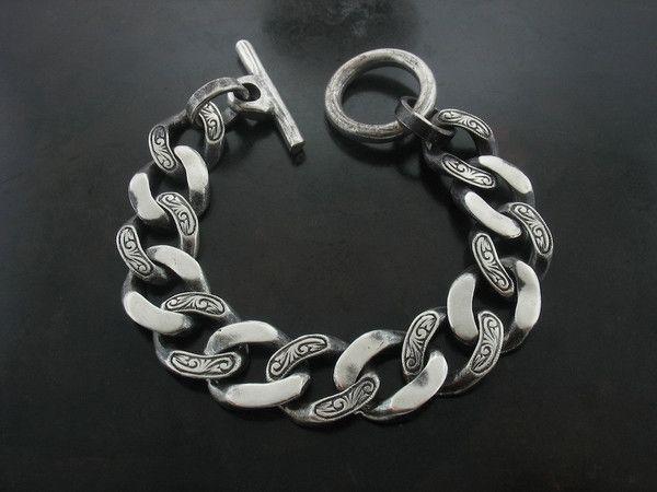 Carved Curb Link Bracelet Bracelets For Men Sterling Silver Bracelets Silver