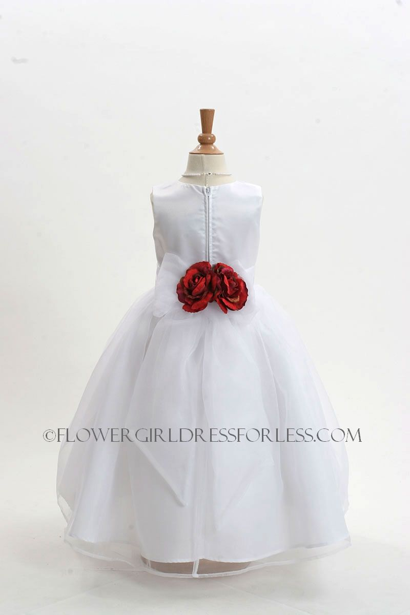 2021wvr Flower Girl Dress Style 2021 White Dress With 3 Red