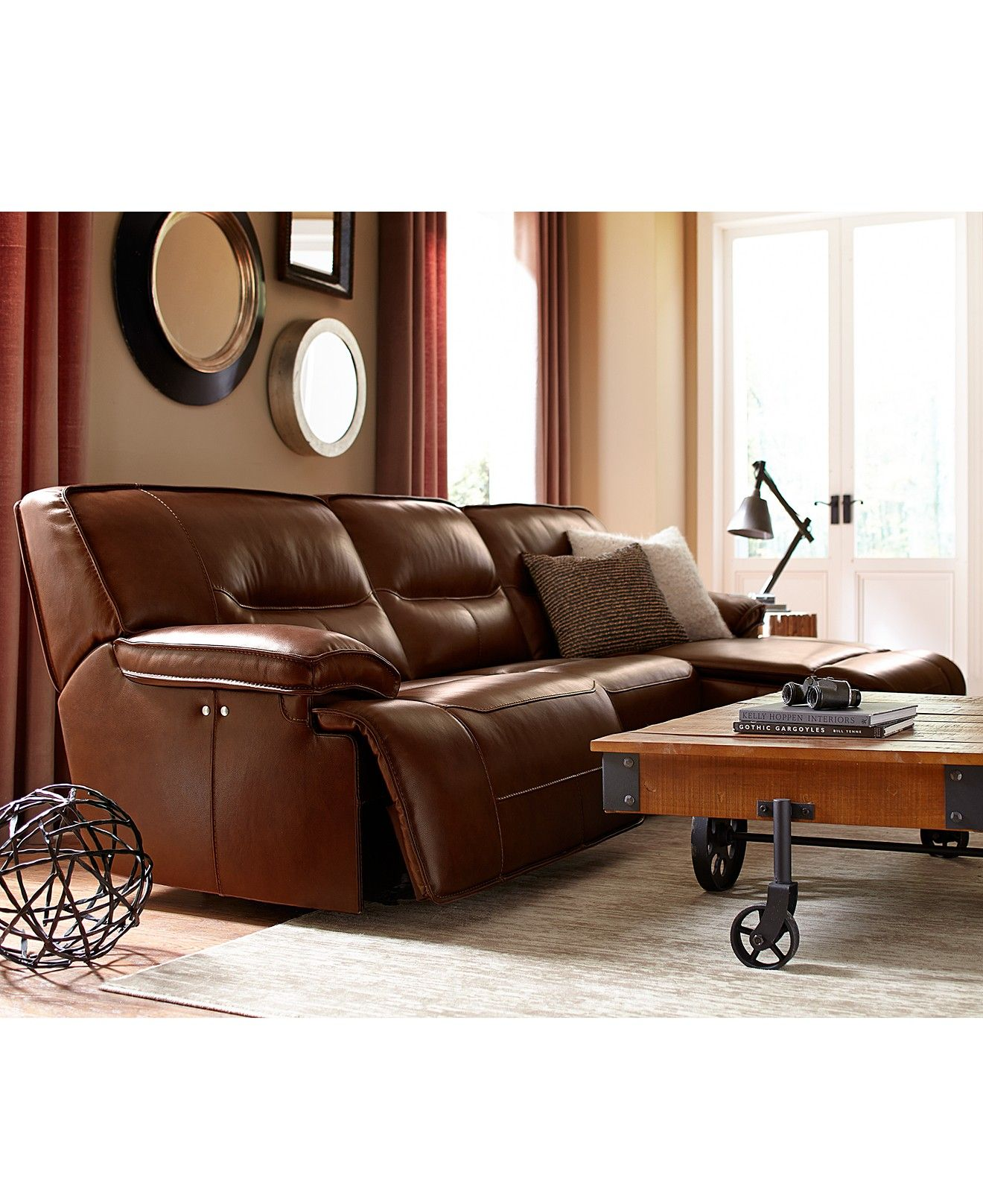 Beckett Leather Power Reclining Sectional Sofa Collection ...