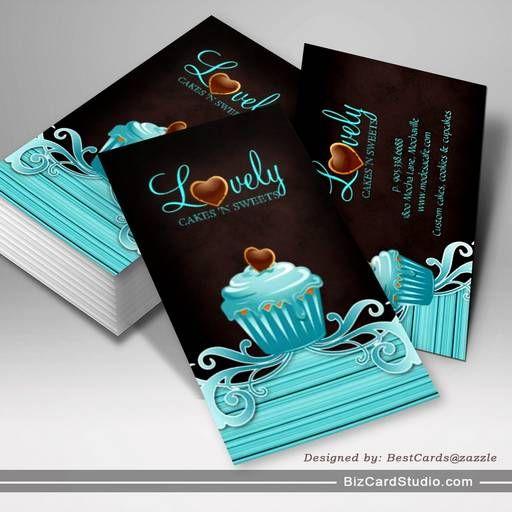 Bakery Cupcake Blue Swirls Chocolate Brown Business Card Bakery
