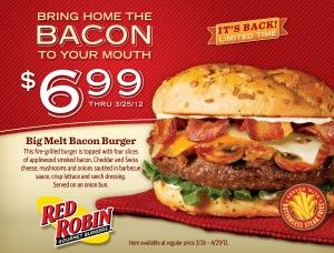 picture regarding Red Robin Printable Coupons named on line discounted Crimson Robin discount codes for July Printable