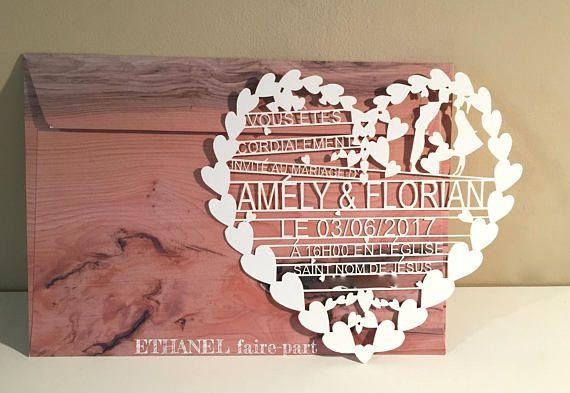 Faire part mariage coeur ciselé, dentelle découpé, dentelle papier, découpe laser, coeur dentelle, Lot de 10