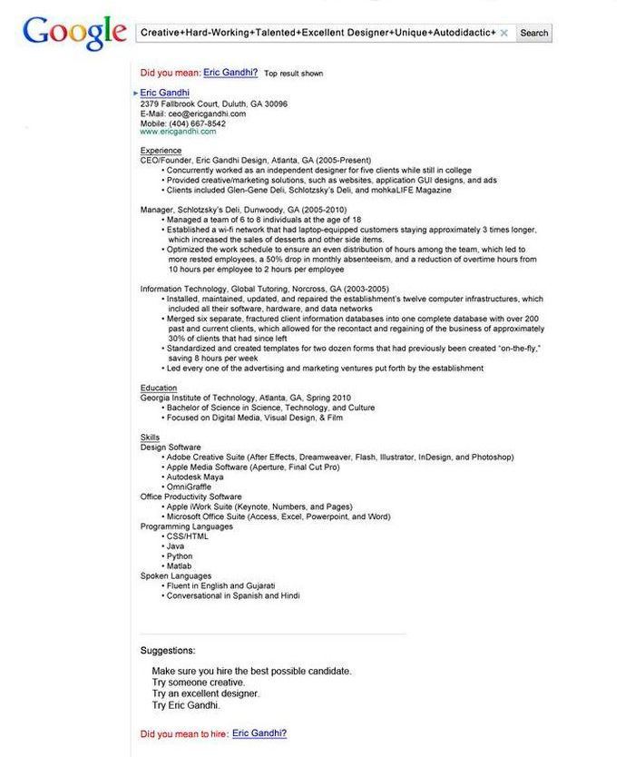 Free Resume Search 50 Ejemplos De Currículums Originales  Comunicación  Pinterest