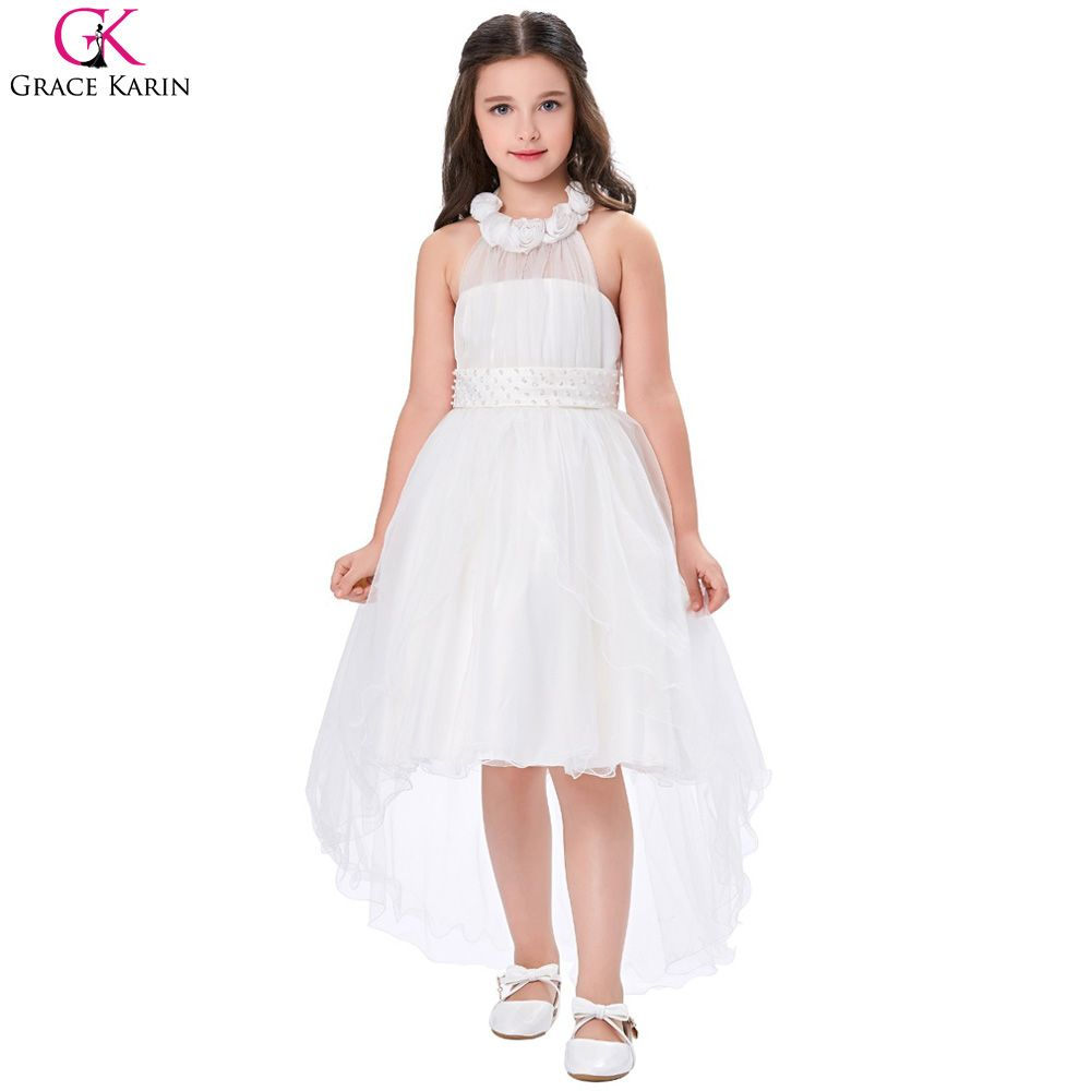 d067f277371 Grace Karin Flower Girl Dresses For Weddings Trailing Princess Communion  Pageant Dress Short Front Long Back Kids Evening Gowns