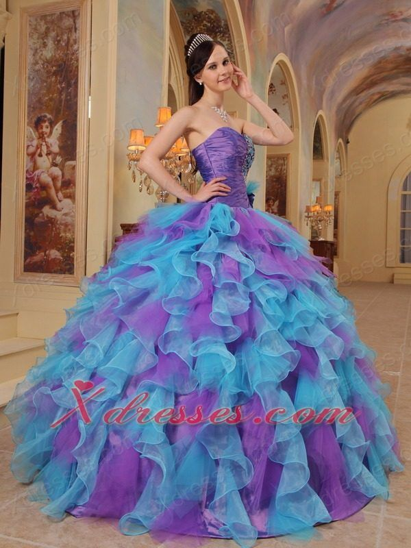 Blue Purple Green Wedding Dress | blue and purple quinceanera ...