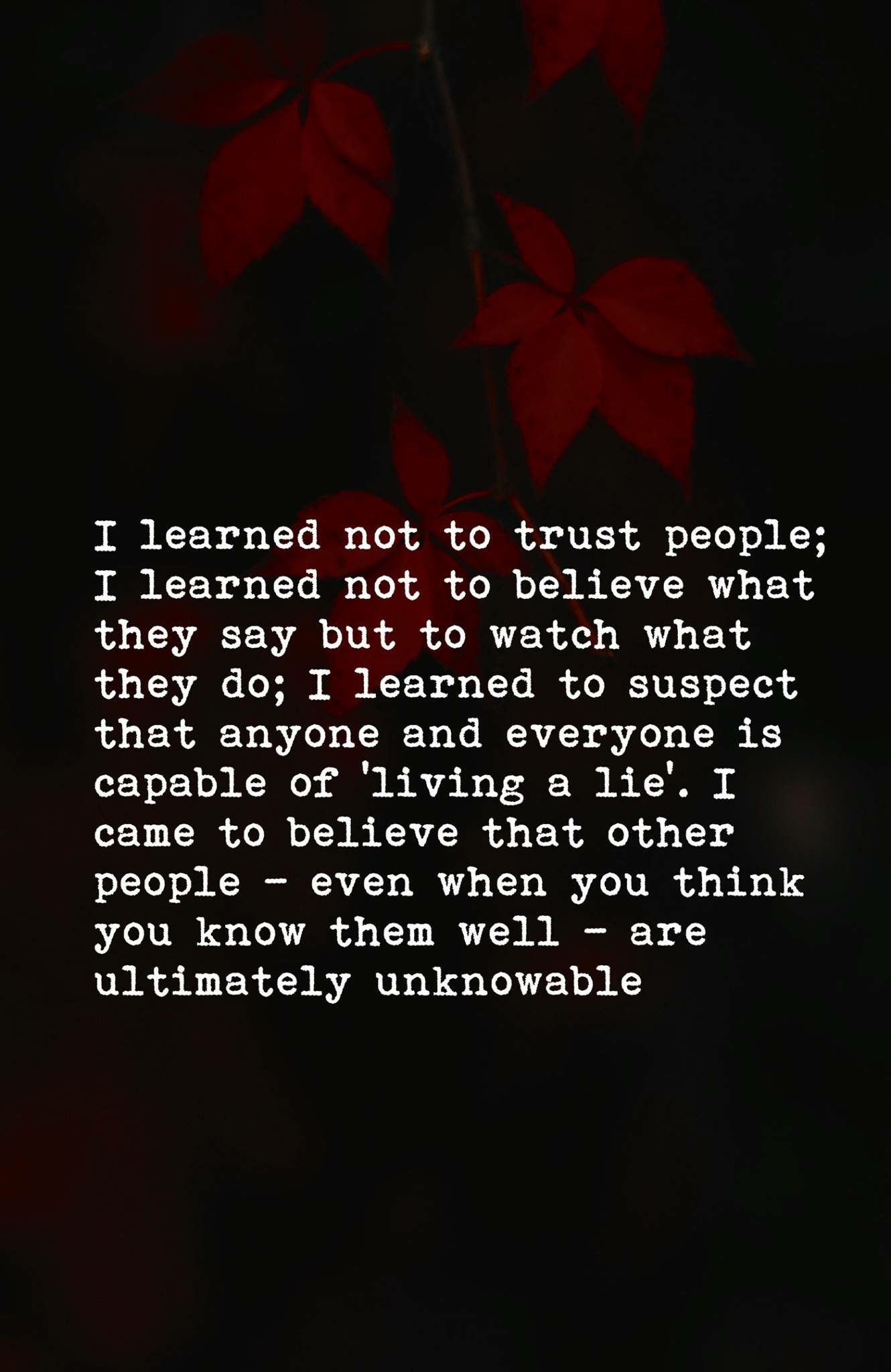I don't trust anyone. Everyone's a liar and a faker to me | Poetry