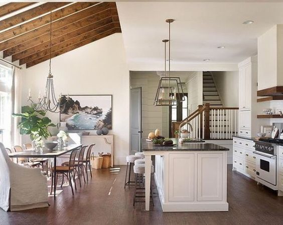 Half Vaulted Ceiling Into Flat Kitchen Ceiling Wood Dining Room