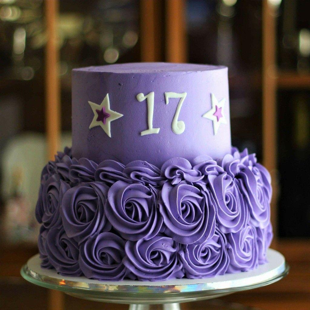 Purple Wedding Ideas With Pretty Details: Happy 17th Birthday Bennie! Purple Rosette Cake