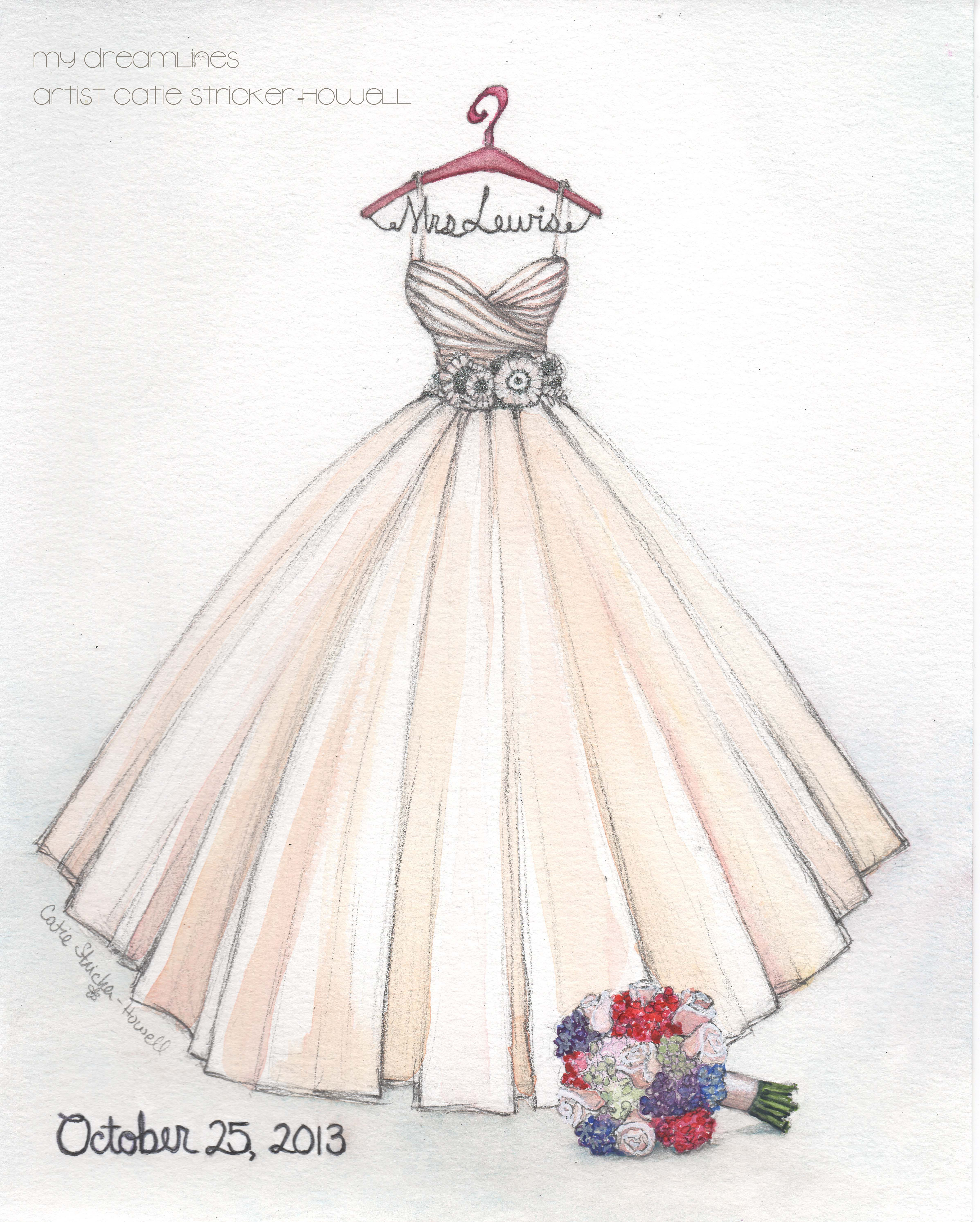 Sketched This Larzaro Gown For A Bride Love This Fun Sherbet Color For A Wedding Gown Dress Design Sketches Wedding Dress Drawings Fashion Drawing Dresses
