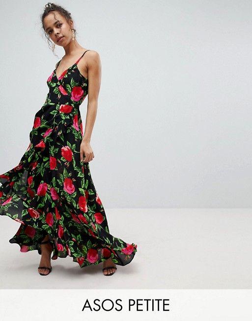 PETITE - Vestito lungo a fiori grandi a portafoglio con spalline e ... 3f85640f5f5