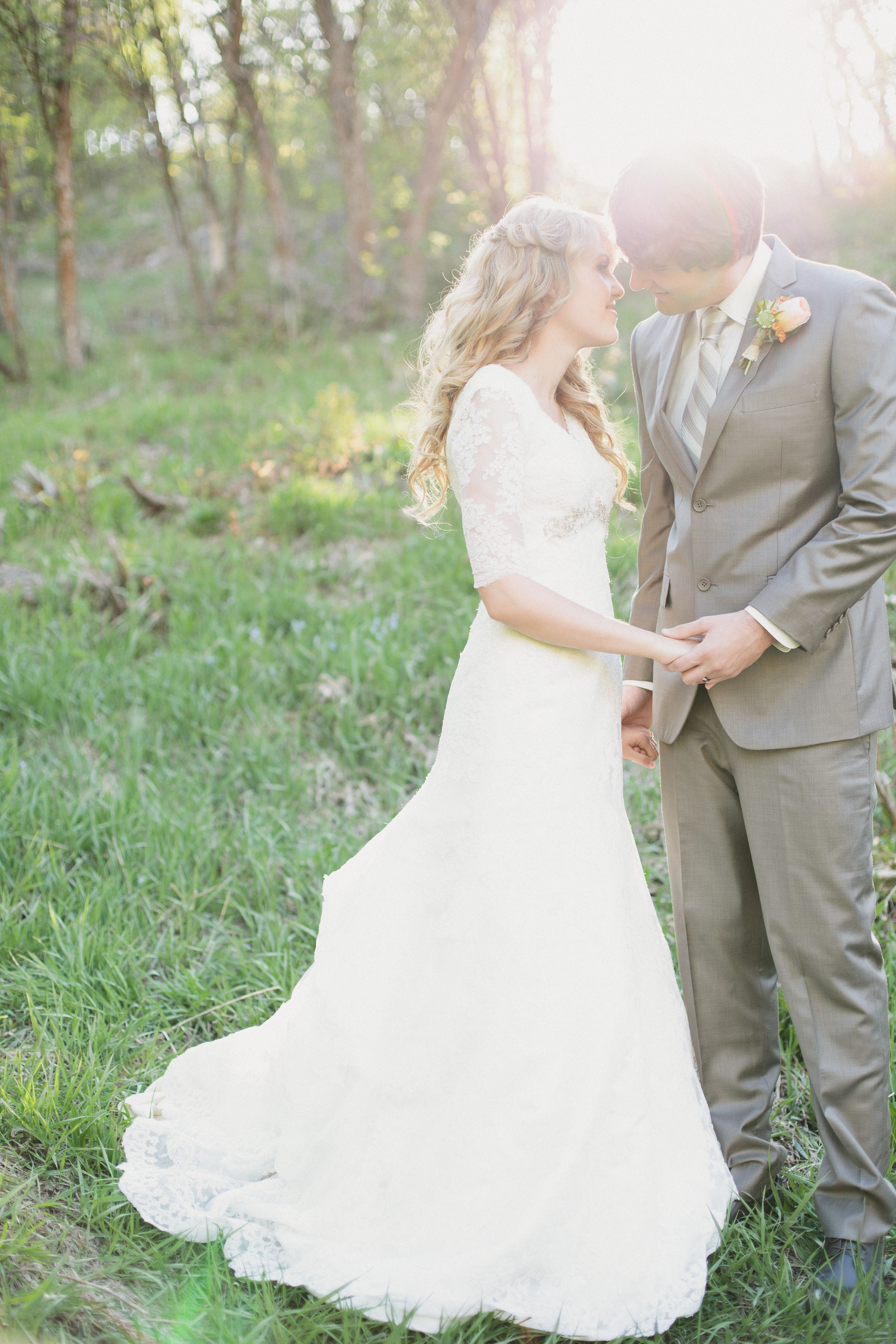 Allure 8825 Lace Sleeve Wedding Dress Modest Dresses 3 4