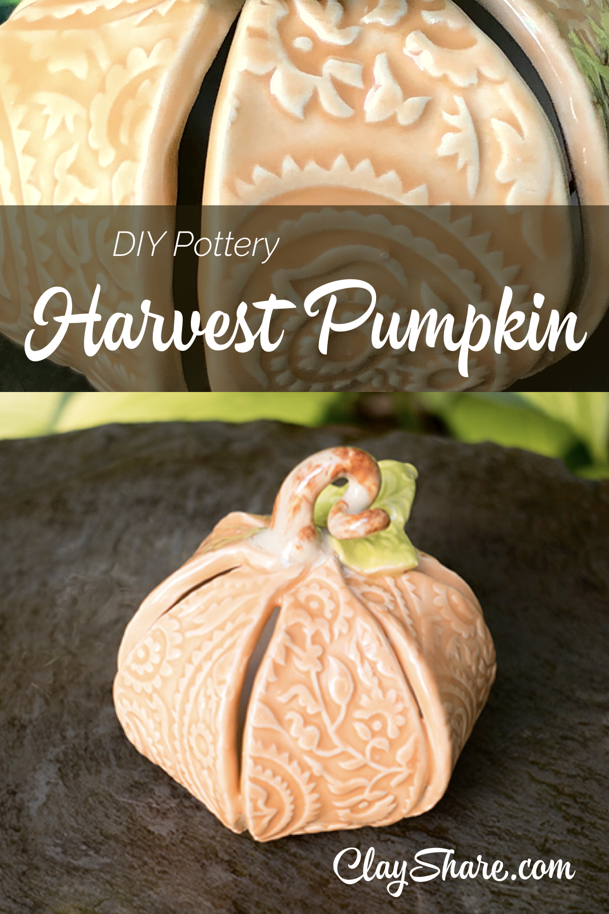 Make your own super sweet harvest Pumpkin with our step by step pottery tutorial. ClayShare has over 180 online pottery classes, sign up for free today! #potteryclasses