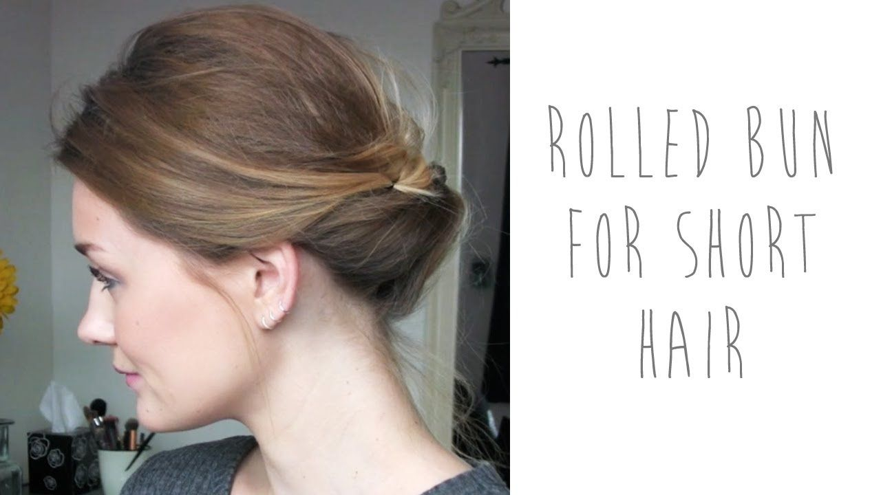 Hair Tutorial Rolled Bun For Short Hair Tinytwisst Short Hair Bun Short Hair Tutorial Short Hair Updo
