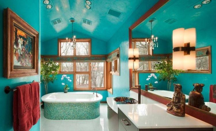 salle de bain plafond turquoise - Google Search House Inspo