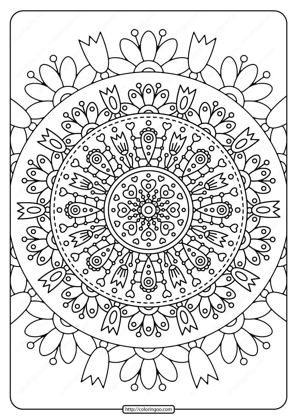 Printable Spring Mandala Pdf Coloring Page Coloring Pages Mandala Coloring Pages Colored Pencil Drawing Techniques
