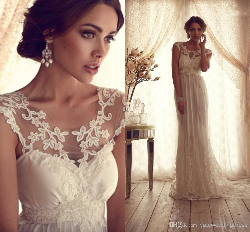 Sheer wedding dress   Vintage Sheer Wedding Dresses Backless Lace Beach Wedding