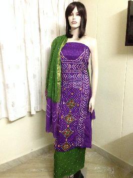 3bbc30c8bd Buy Kutch work Bandhani Unstitched Dress Material Suit-Purple ...