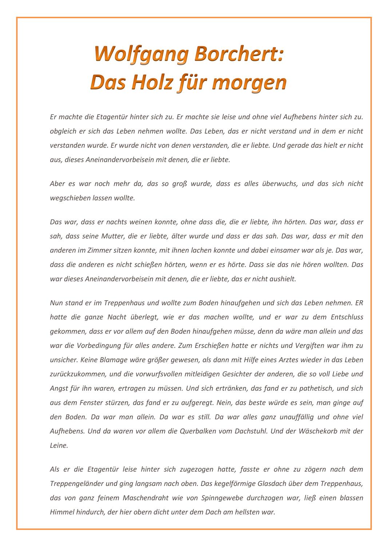 Kurzgeschichte: Wolfgang Borchert - | Kurzgeschichten