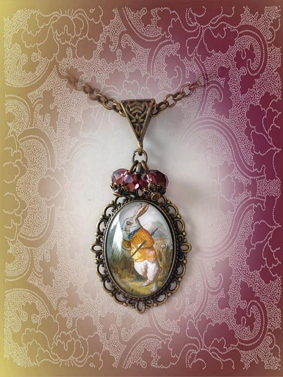 Cute White Easter Rabbit Cabochon Glass Tibet Silver Chain Pendant Necklace
