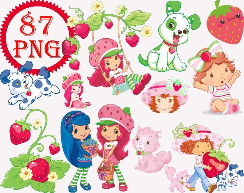 Strawberry Shortcake Clipart Png Digital Clipart Digital Etsy Cartoon Clip Art Digital Clip Art Clip Art
