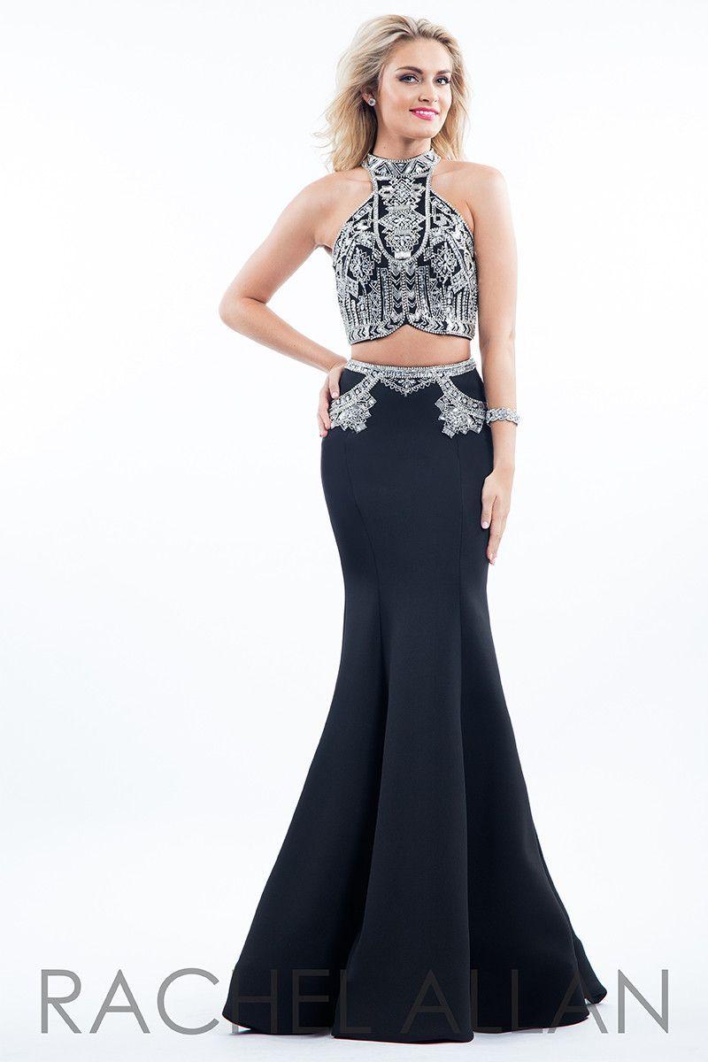 7b5da6a50ce7 Rachel Allan 7569 Black High Neck Prom Dress in 2019