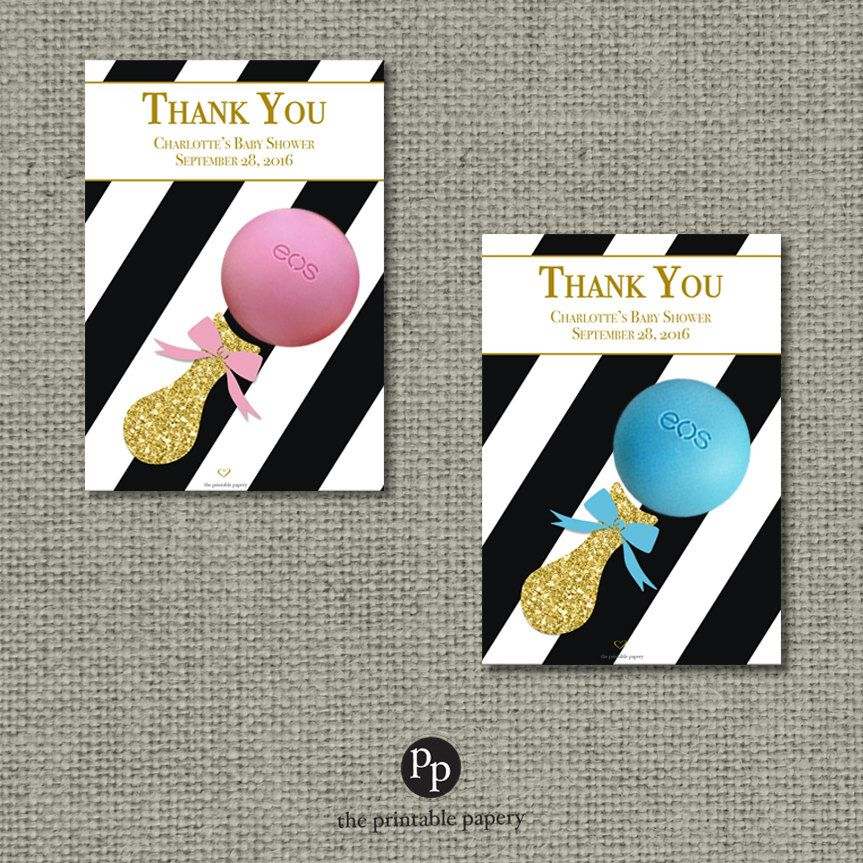 Printable Pink Gold Or Silver Glitter Baby Shower Gift Tags For EOS Lip  Balm | Pink Blue Green Black Stripe Favor Tags | IAG Iab | STP EOS1