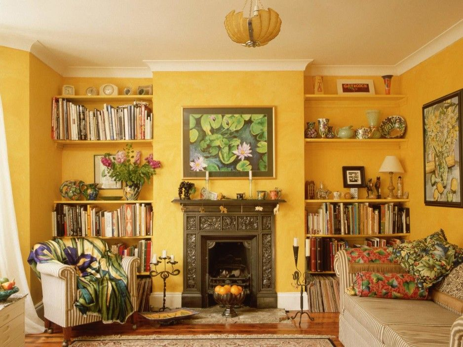 Interior. Beautiful Yellow Accent Walls Color Schemes Of Modern ...