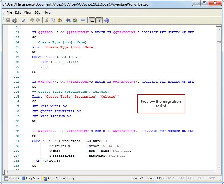 PreImpact Analysis  Review The Migration Sql Script Before It Is