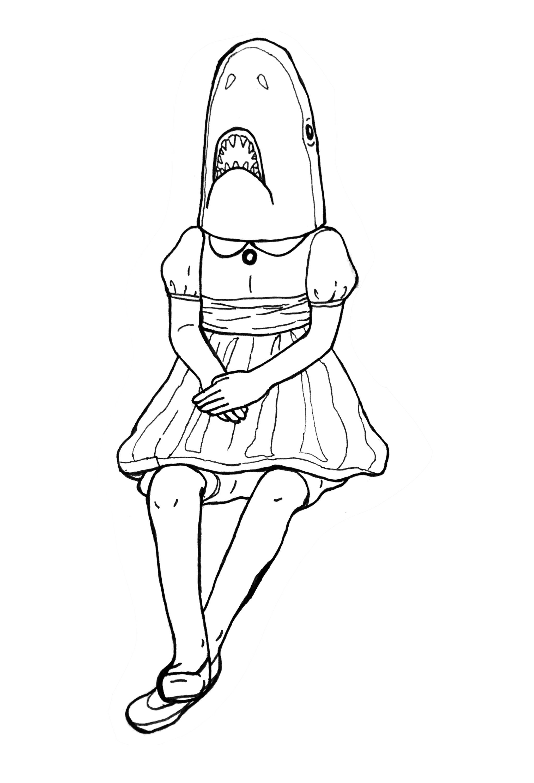 Shark Girl Pen Drawing